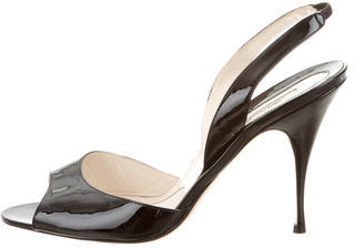 Brian Atwood Patent Leather Peep-Toe Slingbacks $125 thestylecure.com