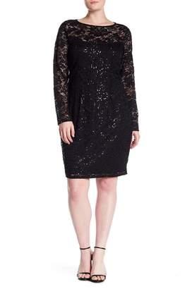 Marina Sequin Lace Long Sleeve Sheath Dress (Plus Size)