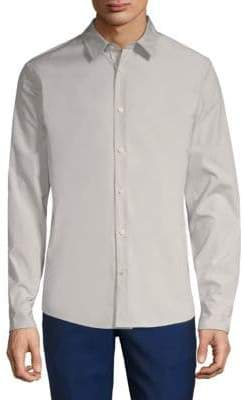 Vince Reverse Placket Cotton Button-Down Shirt