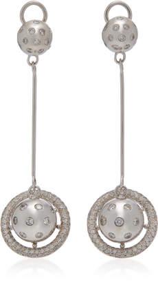 Lynn Ban Jewelry Saturn Sterling-Silver Diamond Earrings