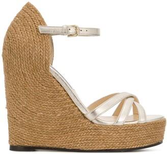 Jimmy Choo Delaney high heeled platform wedge sandals
