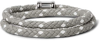 Miansai Double Casing Woven Leather Stainless Steel Bracelet