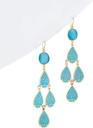 Devon Leigh 18K Yellow Gold Over Silver Turquoise & Resin Earrings