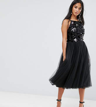 Little Mistress Petite Tulle Dress With Sequin Upper
