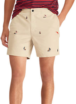 Ralph Lauren Polo Prepster Flat Embroidered Boat Shorts, Neutral