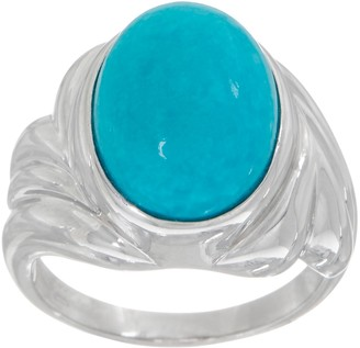 Turquoise Oval Cut Ring, Sterling Silver