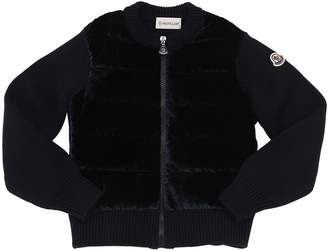 Moncler Wool Knit & Velvet Down Jacket