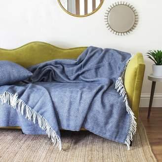 Marquis & Dawe Extra Large Slate Blue Herringbone Wool Throw