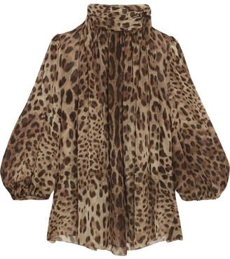 Dolce & Gabbana - Leopard-print Silk-chiffon Blouse - Camel $995 thestylecure.com
