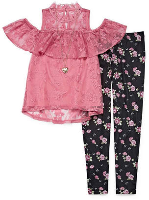 Knitworks Knit Works Victorian Lace Legging Set with Necklace - Girls' 4-16 & Plus
