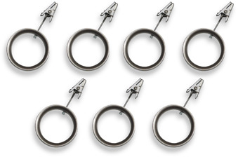 Umbra Duella Pewter Cufflet Drapery Clip Rings (Set of 7)