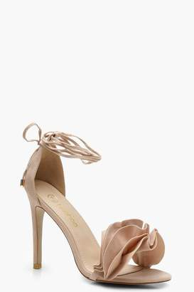 boohoo Ruffle Ankle Wrap Sandals