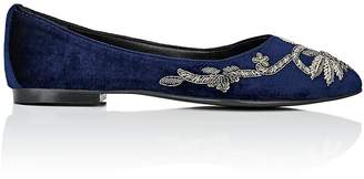 Barneys New York WOMEN'S EMBELLISHED VELVET FLATS