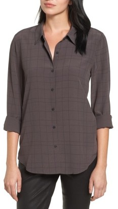 Women's Eileen Fisher Windowpane Classic Collar Shirt $278 thestylecure.com