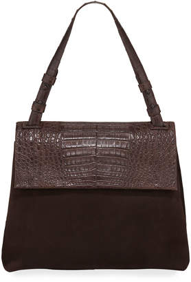 Nancy Gonzalez Sophie Medium Crocodile and Suede Shoulder Bag
