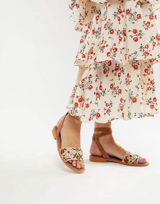 Asos DESIGN Falcon embroidered sandals