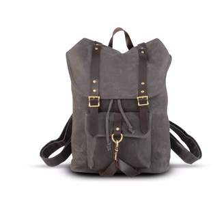 EAZO - Waxed Canvas & Leather Straps Backpack in Grey