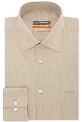 Geoffrey Beene Mens Dress Shirts Fitted Textured Sateen Spread Collar