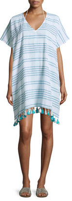 Seafolly Spaced-Stripe Caftan Coverup, Blue $92 thestylecure.com