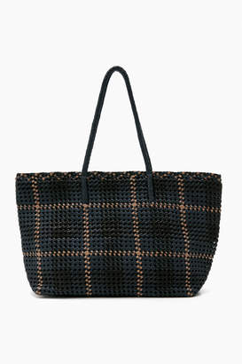 Dragon Optical Diffusion Celeste Woven Leather Zipper Tote