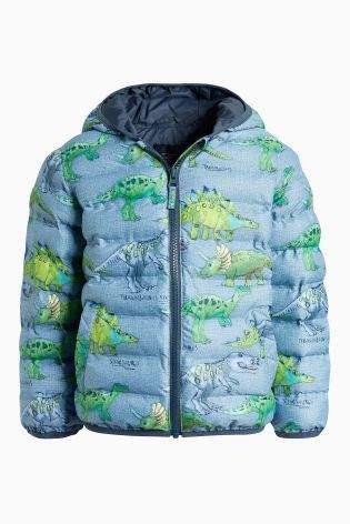 Boys Dinosaur Print Padded Jacket (3mths-6yrs) - Blue