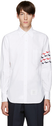 Thom Browne White Embroidered Hector Shirt $620 thestylecure.com