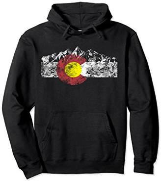 Colorado Flag and Mountains - Rocky Mountains Hoodie
