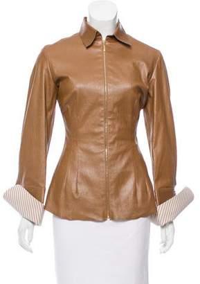 Talbot Runhof Leather Zip-Up Jacket