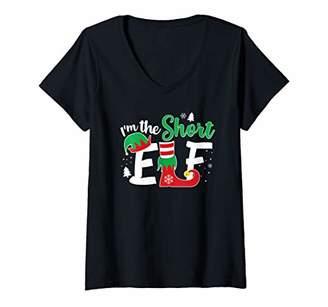Womens I'm The Short Elf Matching Family Group Christmas Gift V-Neck T-Shirt
