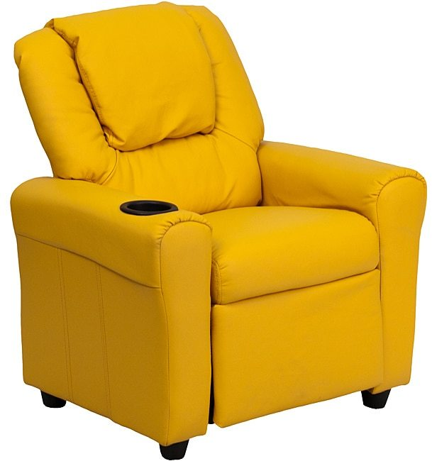 Flash Furniture Contemporary Yellow Vinyl Kids Recliner with Cup Holder and Headrest