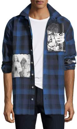 Neiman Marcus Haculla Men's Plaid Punk Art Graphic Shirt