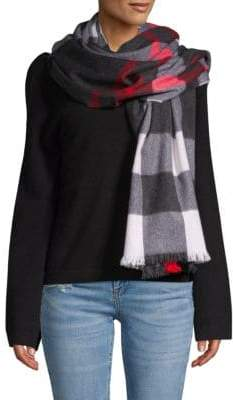 Amicale Wool & Cashmere Enlarged Plaid Scarf