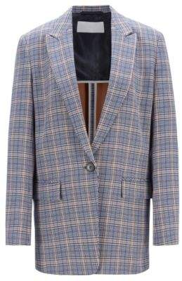 BOSS Hugo Relaxed-fit boyfriend jacket in a checked cotton 4 Patterned