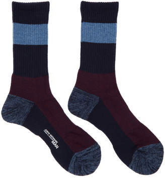 Junya Watanabe Navy and Burgundy Wool Socks