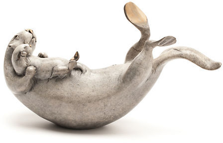 Gump's Brian Arthur Mother & Baby Sea Otter Bronze Sculpture