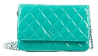 Chanel Patent Quilted Wallet On Chain