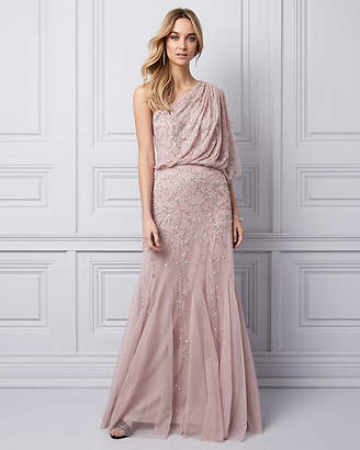 Le Château Beaded Chiffon One Shoulder Gown