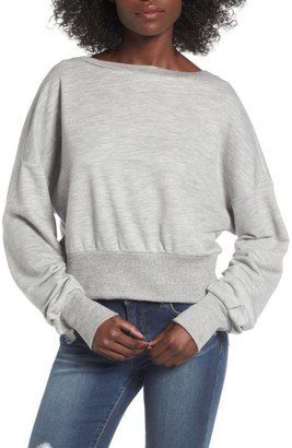 Women's Socialite Ruched Sleeve Sweatshirt $49 thestylecure.com