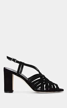 Manolo Blahnik Women's Edita Suede Sandals - Black Suede