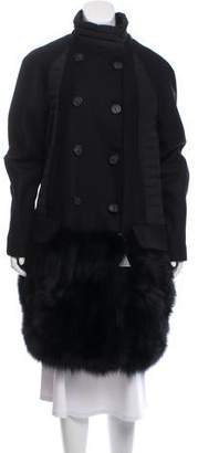 Moncler Antares Fur-Trimmed Coat w/ Tags