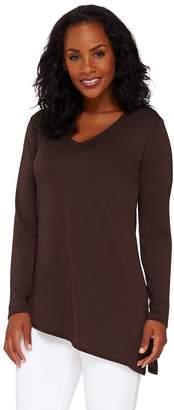 Susan Graver Premier Knit V-Neck Tunic with Asymmetric Hem