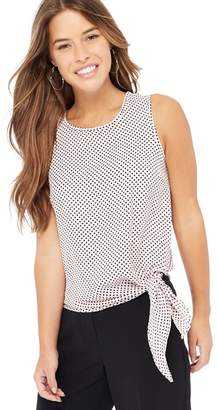 The Collection Petite - Light Pink Polka Dot Print Eyelet Detail Petite Top