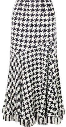 Oscar de la Renta Fringed Houndstooth Wool-blend Tweed Midi Skirt - Black