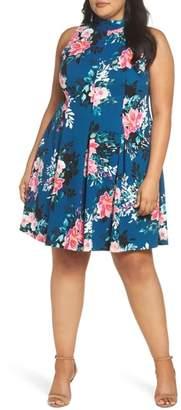 Vince Camuto High Neck Floral Fit & Flare Dress