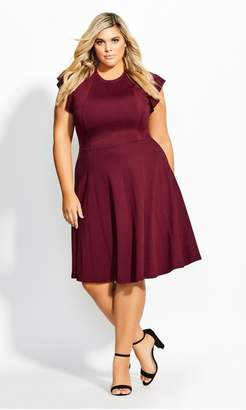City Chic Citychic Frill Shoulder Dress - merlot