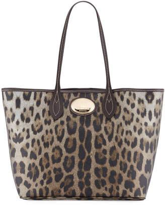 Roberto Cavalli Leopard-Print Leather Tote Bag