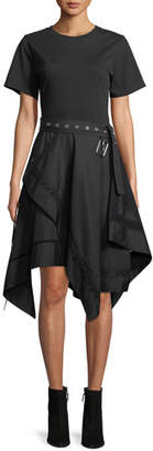 3.1 Phillip Lim Short-Sleeve Belted Dress with Handkerchief Skirt