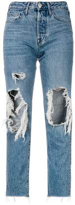 3x1 cropped distressed jeans