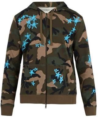 Valentino X Zandra Rhodes Zip Up Cotton Blend Sweatshirt - Mens - Camouflage