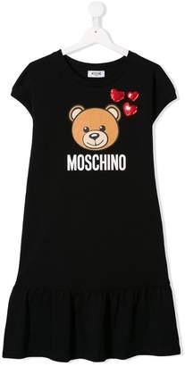 Moschino Kids TEEN bear logo print dress